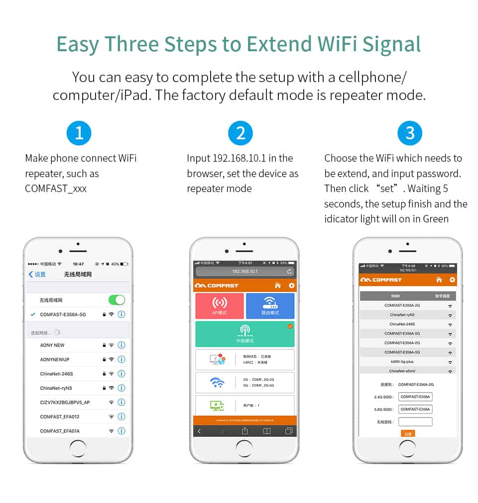 Comfast CF-WR752AC V2 easy three steps to extend WiFi signal
