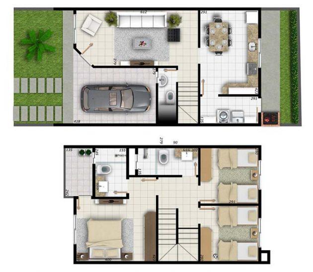 Increíbles ideas de diseño moderno de planos de casas con 3 dormitorios