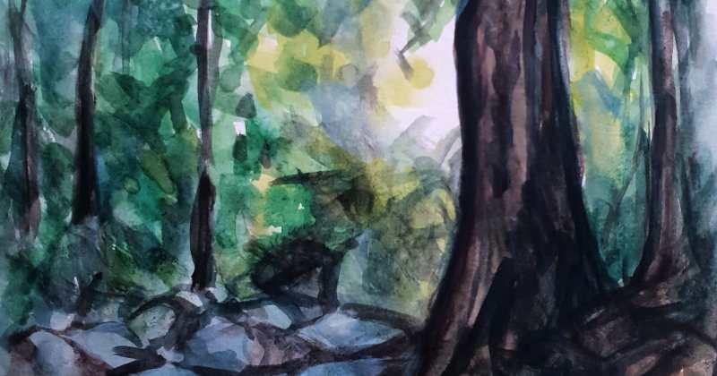 un pinttura al oleo de un bosque. Autor: Jesús Lopez