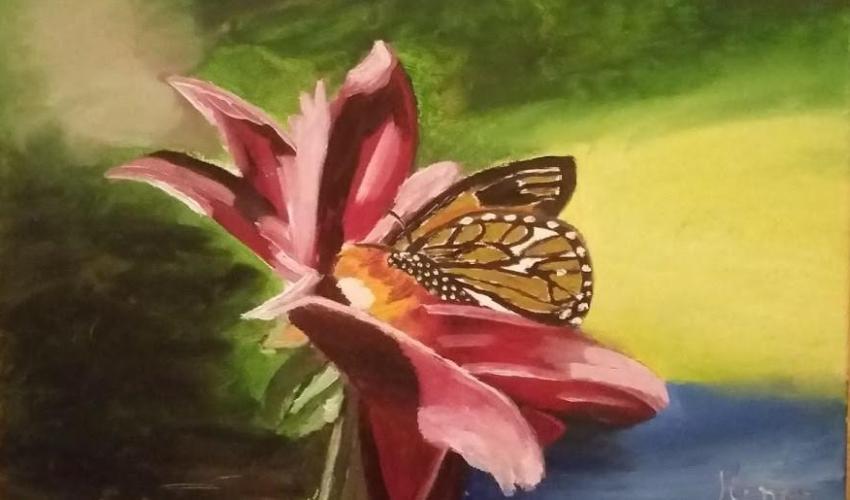 Una mariposa posada en una flor rosa, pintura de Henar Tejero