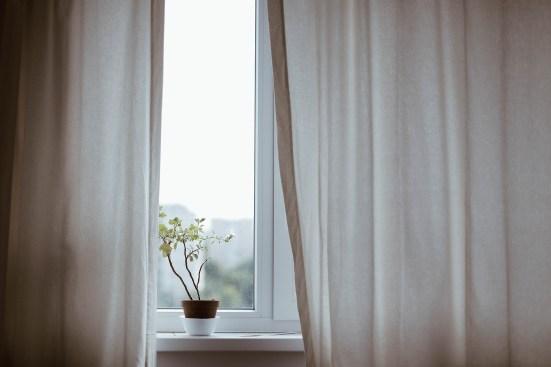 Cortinas blancas con una planta en el antepecho de la ventana.  https://pixabay.com/es/photos/cortinas-decoraci%C3%B3n-interior-planta-1854110/ https://pixabay.com/es/users/pexels-2286921/