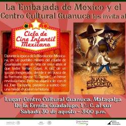 Afiche de publicidad, con dibujos de la pelicula mexicana juan escopeta. tiene un resumen de la pélicula y el lugar de presentación