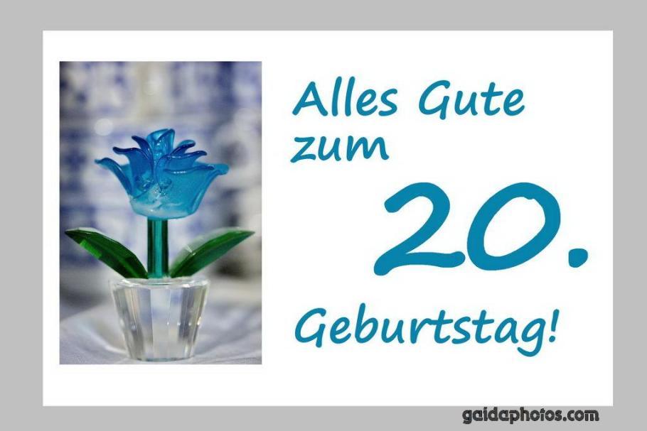 Karte-zum-20.-Geburtstag-Blume-türkis