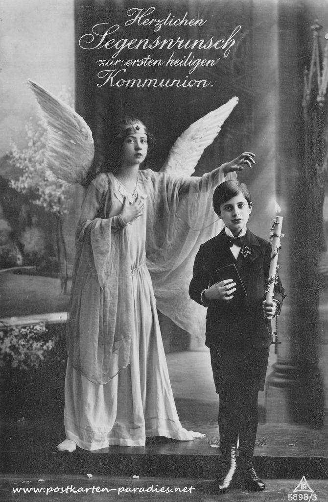 Kommunionskarten mit Engel 1930 Junge