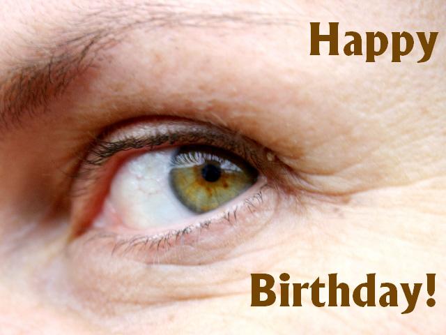 Kostenlose Grusskarte zum Geburtstag selber drucken, Auge, Englisch