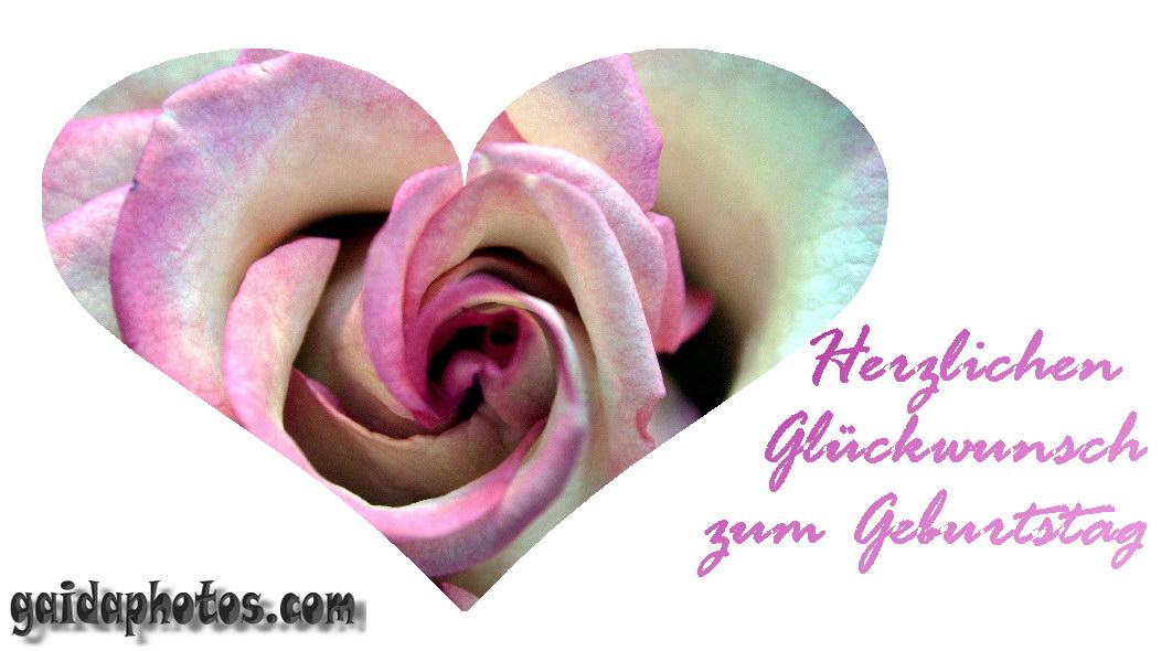Grusskarten zum Geburtstag selbst gestalten/basteln, pinke Rose