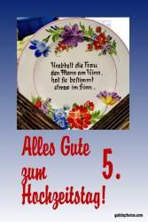 5. Hochzeitstag Hochzeitskarte Gedicht Holzhochzeit
