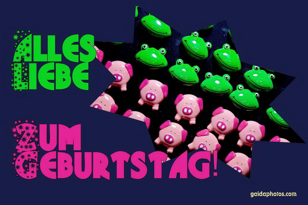 Karte zum Geburtstag: Frosch und Schwein