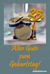 Karte 25. Geburtstag Schlagzeug