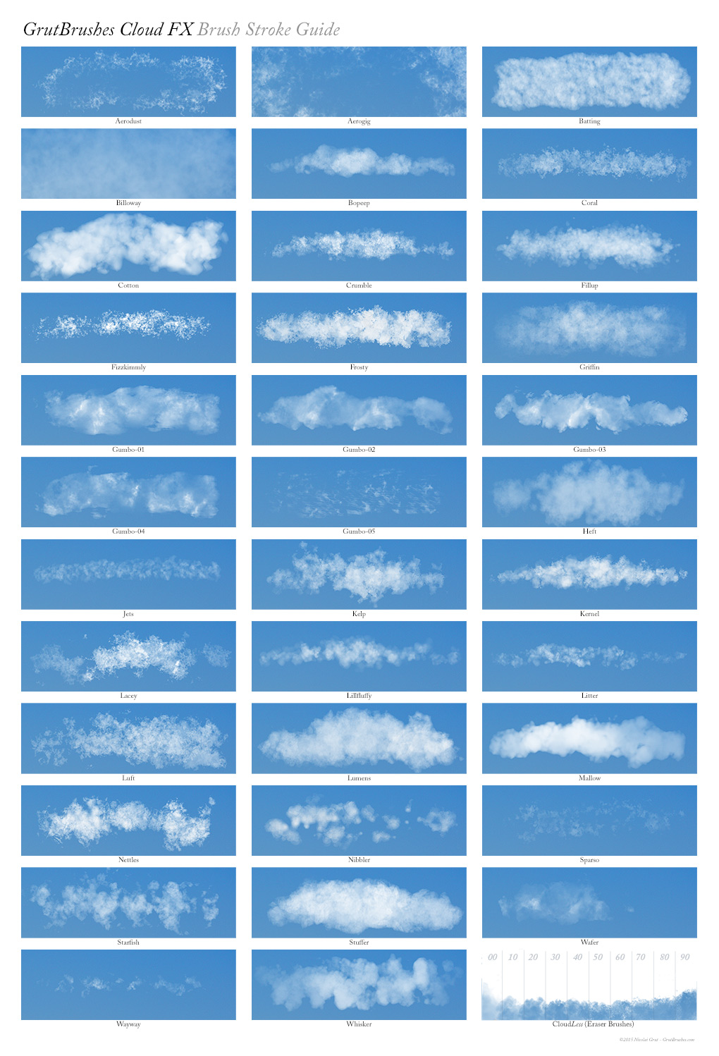 Sample Brush Strokes of all 50 of the GrutBrushes Cloud Brushes and Tools