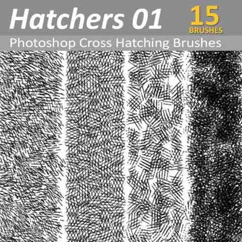 15 Photoshop cross hatching brushes - Dynamic and presure responsive