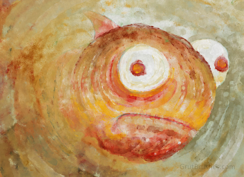 Painting a fish with the watercolor Photoshop brush 'Creamsicle'
