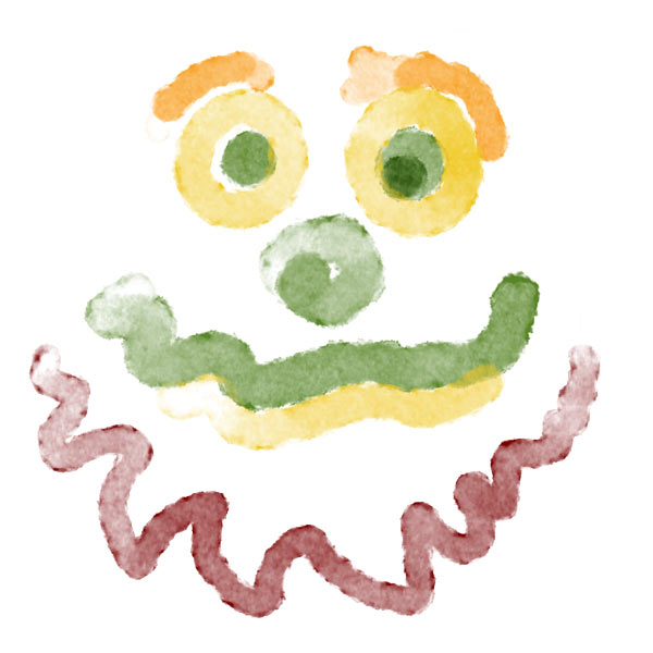 Digital Watercolour Bear painting created using Grape Remains Photoshop brush from grutbrushes.com