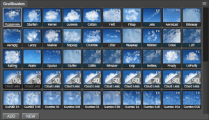 Photoshop Cloud Brushes in the GrutBrushes Plugin Panel for Photoshop CC