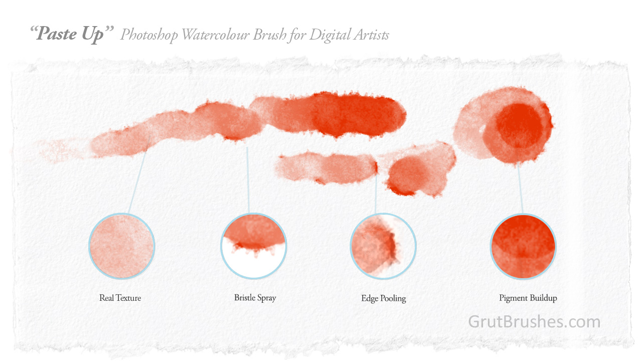 brush stroke characteristics of Pasteup digital watercolour brush