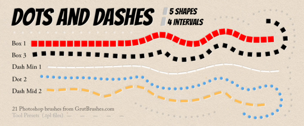 download 20 Photoshop dash and dot line brushes for free