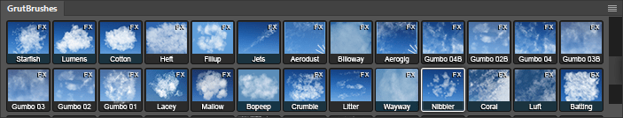 Cloud Brushes in the Photoshop Brushes plugin panel from GrutBrushes