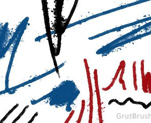 Sample brush strokes of 'Poster Bantam' Photoshop Ink brush for digital artists
