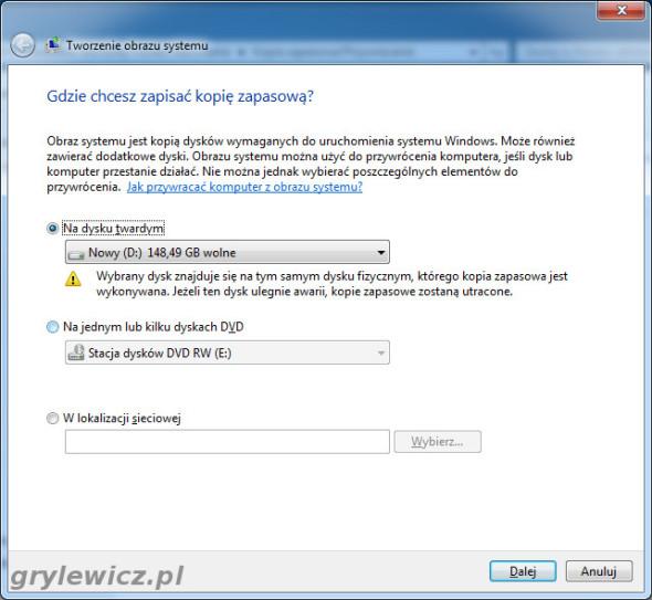 Windows 7 - Gdzie zapisać kopię