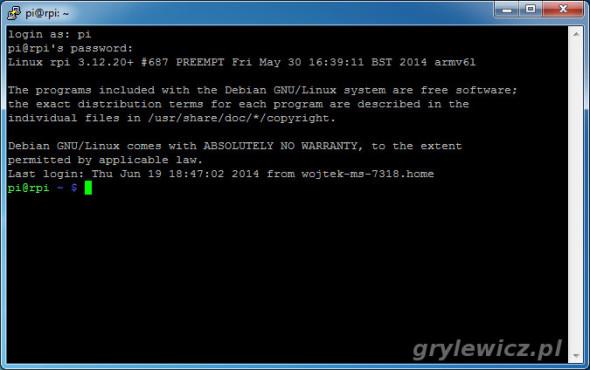 Konsola zdalna Raspberry Pi
