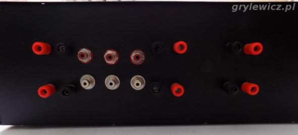 Panel tylni wzmacniacza audio