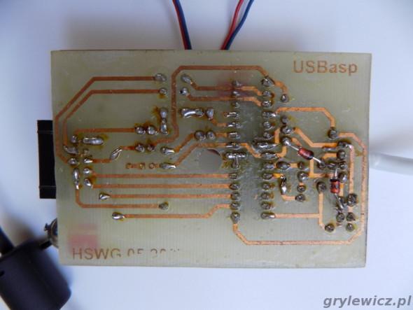 Płytka USBasp - strona ścieżek