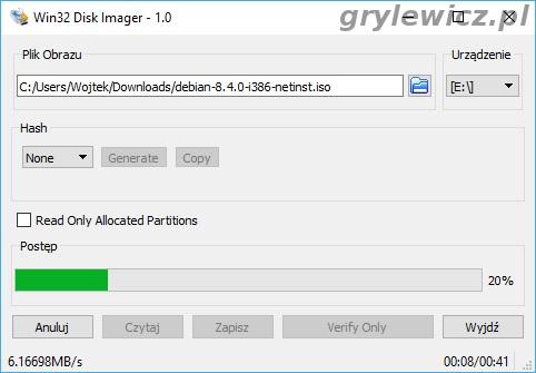 Win32 Disk imager - zapisywanie