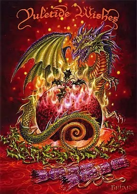 Flaming Dragon Pudding Yule Card For You At Gryphons Moon