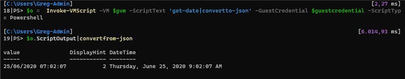 Invoke-VMScript scriptoutput json