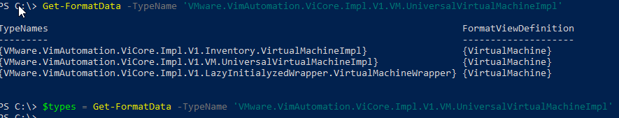 get-formatdata with VMware.VimAutomation.ViCore.Impl.V1.VM.UniversalVirtualMachineImpl type