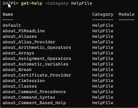 get-help -category helpfile