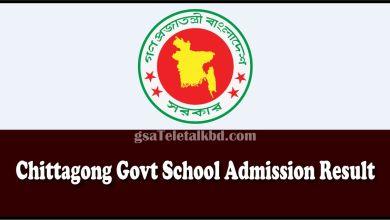 Chittagong Govt School Admission Result