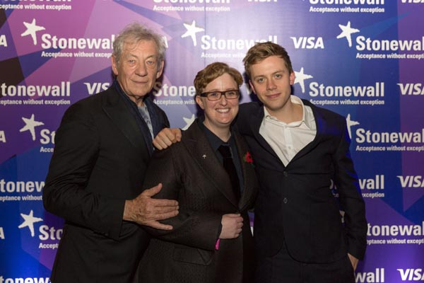 Sir Ian McKellen with Stonewall CEO Ruth Hunt and Owen Jones