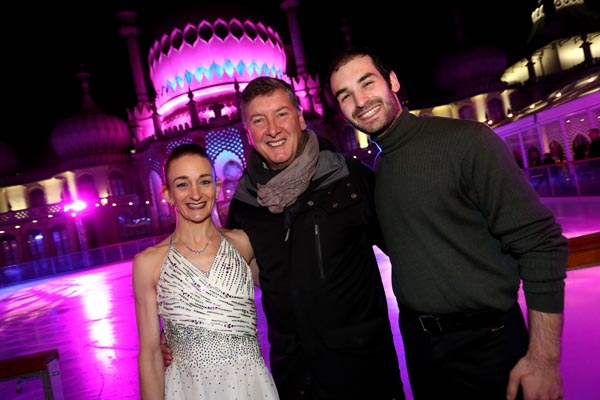 Skaters Zoe Wilkinson and Christopher Boyadji with Robin Cousins (centre): Photograph by Sam Stephenson