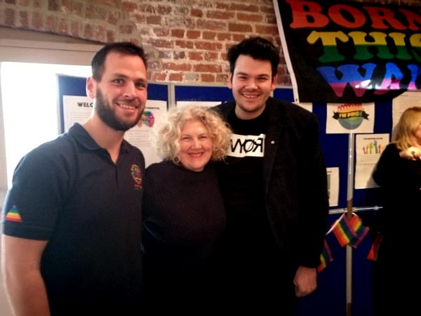 From left to right: Joe Finch, Julie Jones-Evans (Local Councillor) and Joe Plumb (Chair of IW Pride)