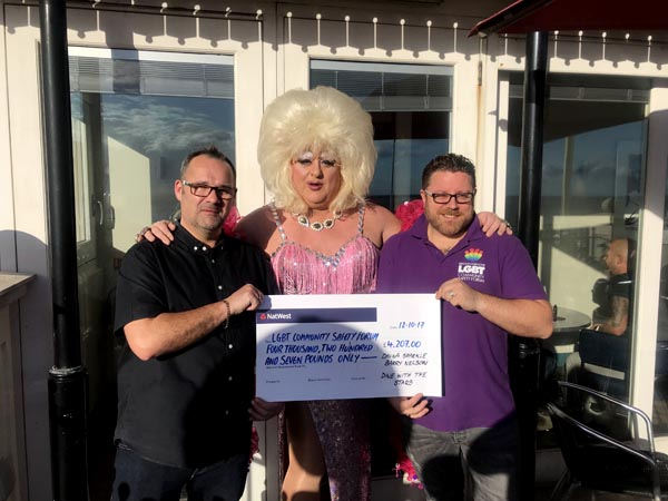 Barry Nelson and Davina Sparkle present cheque to Gavin Kerruish from LGBT Community Safety Forum for £4,207.