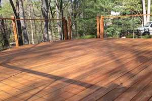 Cedar deck stained.