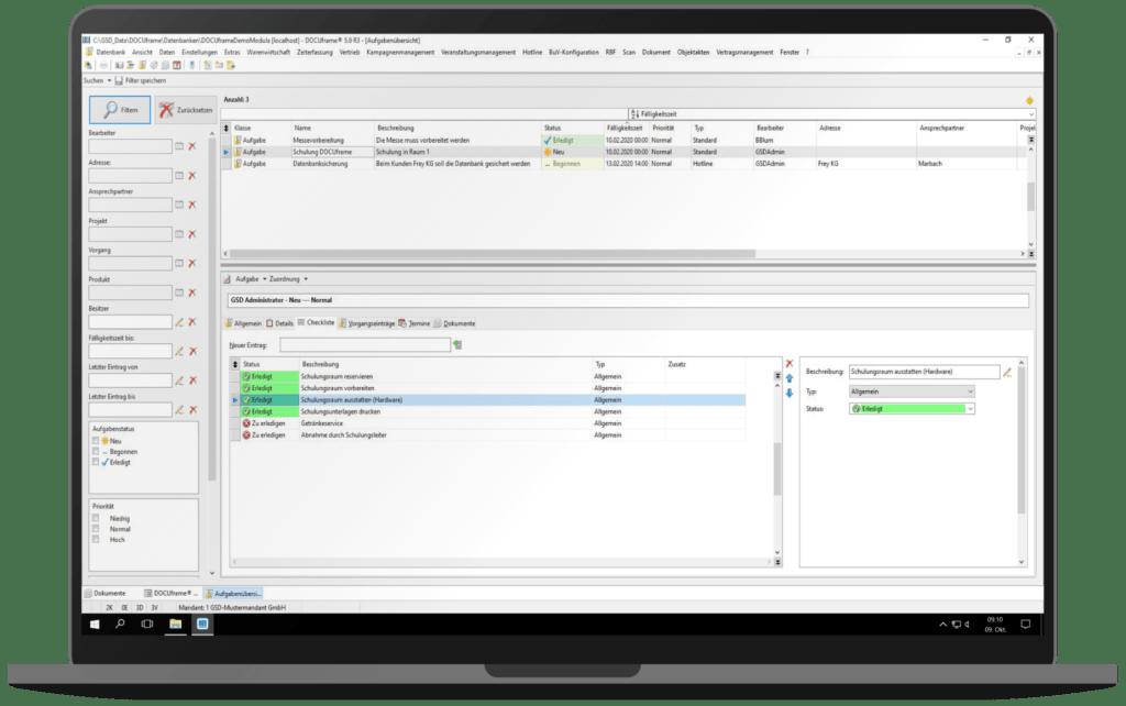 GSD Software - DOCUframe - Groupware - Checklisten