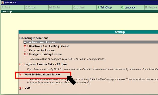 How to open Tally.ERP9 in Education Mode