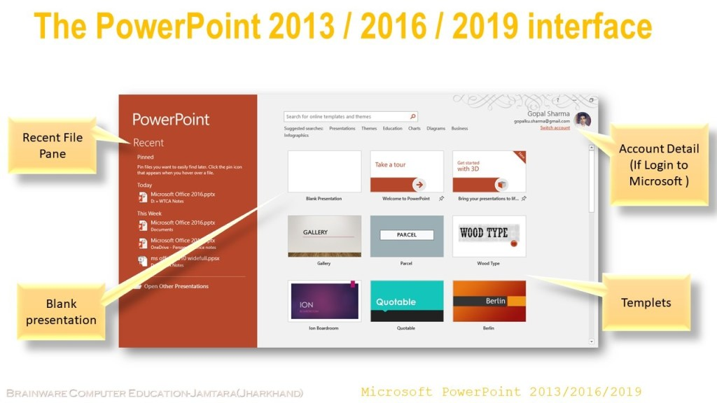 Microsoft Office 2016 interface