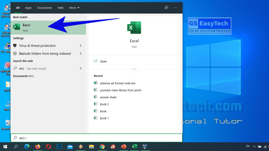 How to open Excel in Windows 8.1 & 10  with start menu