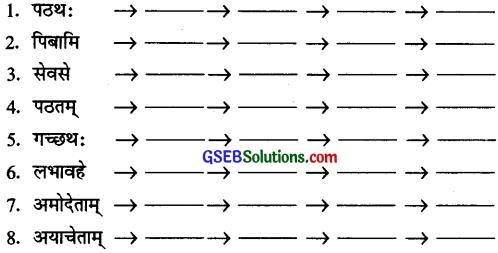 GSEB Solutions Class 10 Sanskrit अभ्यास 1 पुनरावर्तन और क्रियापद-परिचयः