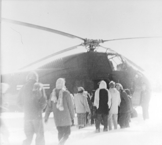 Helicopter from Fort Belvoir airlifts Troop 163 from Camp Potomac Woods in 1958.