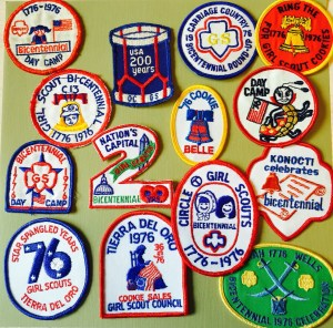 Bicentennial-themed patches from various councils.