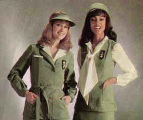 Adult Girl Scouts model the Halston pillbox hat and visor