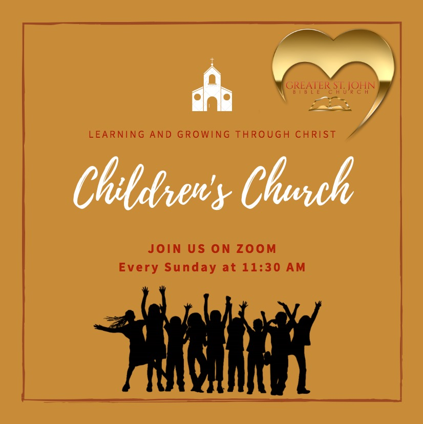 Join Us every Sunday Morning at 11:30 AM for Children's Church via Zoom