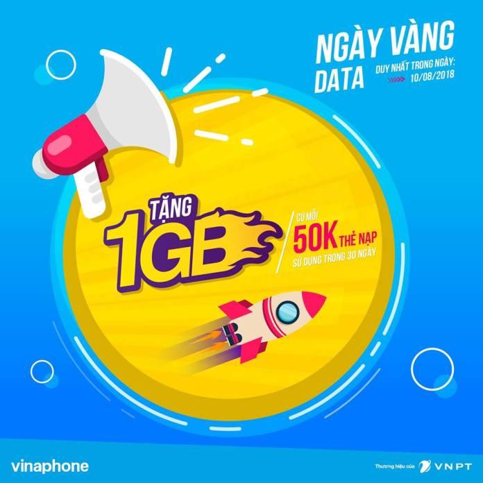 VinaPhone tang data cho khach hang nap the trong ngay 10/08/2018