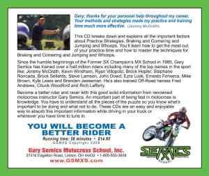 GSMXS Motocross Training CD 2 rear cover