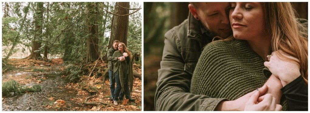 Intimate Redmond engagement session in the forest at Farrel McWhirter Park. Adventurous outdoor Seattle and Snohomish wedding photography in the pacific northwest and montana rocky mountains.