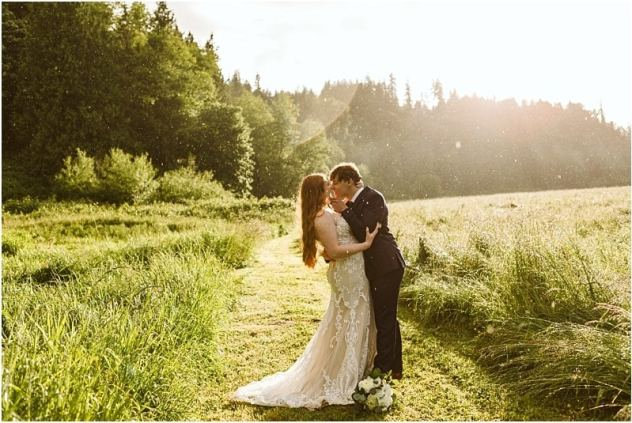 bride and groom who had a small wedding in washington state